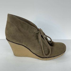Kelsi Dagger Fanetta Booties Suede Taupe Lace Up 6